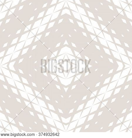 Vector Geometric Seamless Pattern With Fading Rhombuses, Diamonds, Repeat Tiles. Concentric Halftone