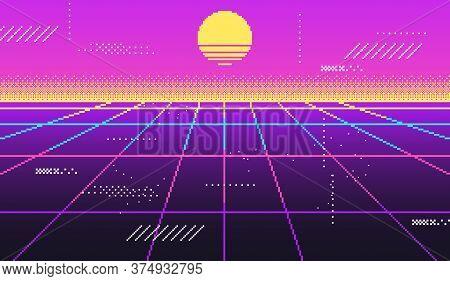 Vaporwave Background For Disco, Virtual Trendy, Glow Vintage Retrowave 90s, Futuristic Neon Space. V