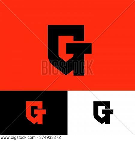 G, T Logo. G And T Monogram Like Shield. Original Symbol On Different Backgrounds. Web, Ui Icon.