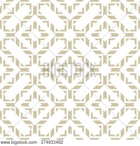 Golden Vector Abstract Geometric Seamless Pattern In Oriental Style. Elegant Asian Ornament. Luxury