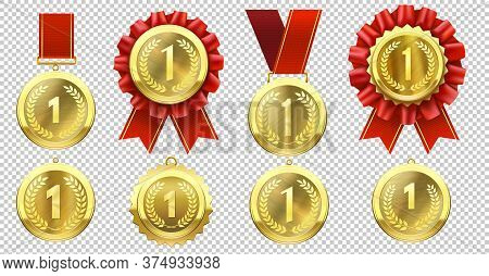 Realistic Gold Medal. Champion Medals With Number One And Red Ribbons. Sports Competition First Priz