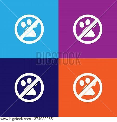 No Animal, Prohibited Sign Illustration Icon On Multicolored Background