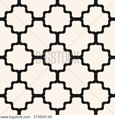 Vector Geometric Seamless Pattern With Ornamental Grid, Net, Mesh, Lattice. Simple Abstract Black An