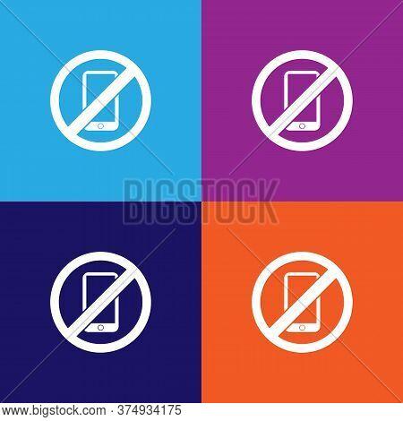 No Phone, Prohibited Sign Illustration Icon On Multicolored Background