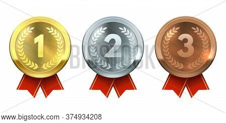 Gold, Silver And Bronze Medals. Realistic Metal Round Badges With Red Ribbon, Winner Prize, Sports C