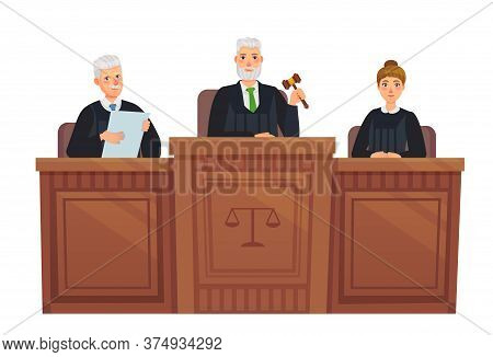 Supreme Court Tribune. Judges In Session, Judge Holding Hammer And Justice Cartoon Vector Illustrati