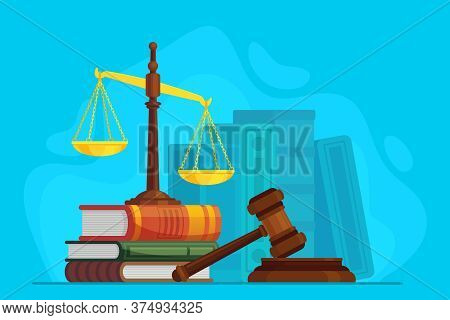 Law And Justice. Scale Justice And Wooden Judge Gavel, Auction Symbol, Legal Law And Judiciary, Tria