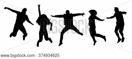 Set Of Happy Jumping People Silhouettes Isolated On White Background. Collection Of Black Jump Compa