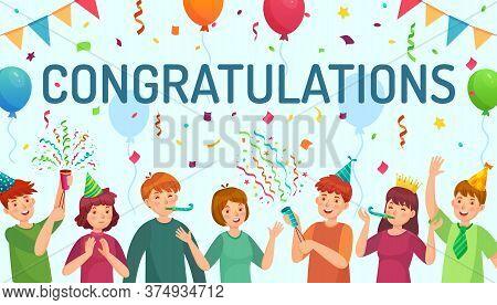 Congratulations Card. Happy People Congratulate You, Team Celebrate Together Cartoon Vector Illustra
