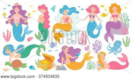 Cute Mermaids. Fairytale Underwater Princess, Mythological Sea Creatures, Dolphins, Treasure Chest.