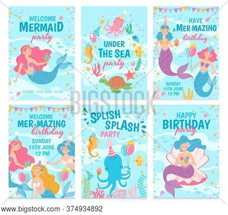 Mermaid Cards. Mythical Cute Princesses And Sea Creatures Underwater World Postcard For Birthday, In