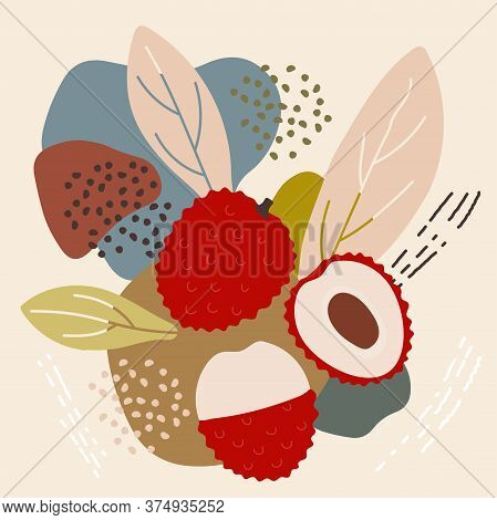 Abstract Pastel Colors Fruit Element Memphis Style. Vector Illustration Of Lychee On Retro Abstract