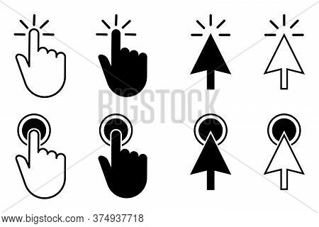 Ser Cursor Pointer Icons. Mouse, Hand And Arrow. Click, Press And Touch Actions.