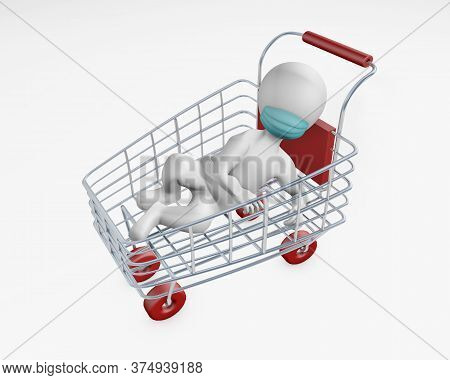 Fatty Man With A Mask In A Shopping Cart 3d Rendering Isolated On White