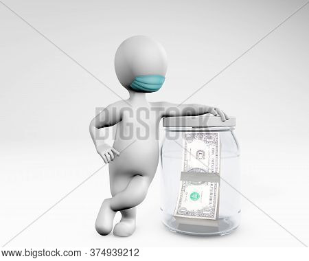 Fatty Man With A Mask Saving Money In A Jar 3d Rendering Isolated On White