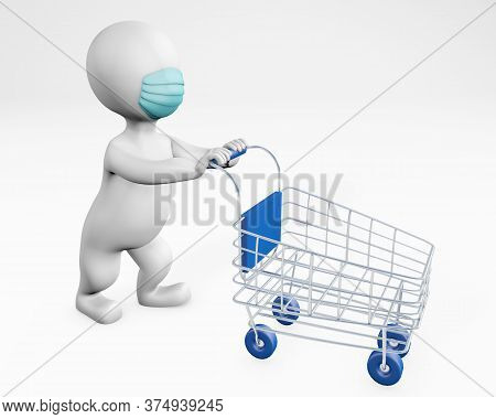 Fatty Man With A Mask Shopping 3d Rendering Isolated On White