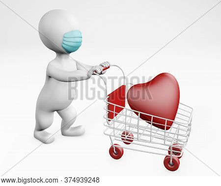 Fatty Man With A Mask Shopping With Love 3d Rendering Isolated On White