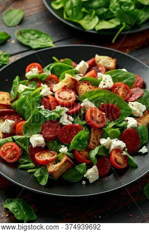 Chorizo Tomato Salad With Spinach, Feta Cheese And Croutons. Healthy Summer Food