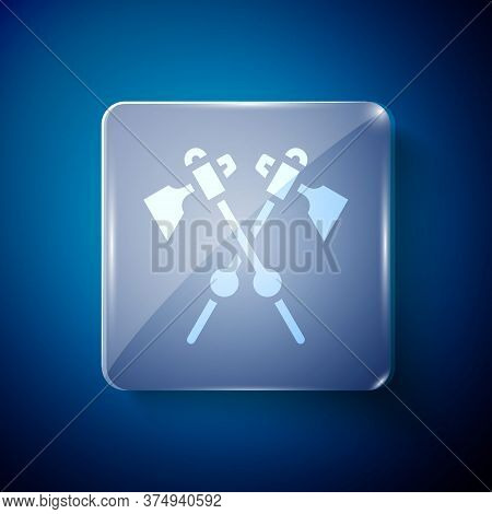 White Crossed Medieval Axes Icon Isolated On Blue Background. Battle Axe, Executioner Axe. Medieval