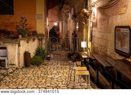 Matera, Italy - September 19, 2019: Typical Cobbled Stairs In A Side Street Alleyway Iin The Sassi D