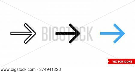 Right Arrow Icon Of 3 Types. Isolated Vector Sign Symbol.