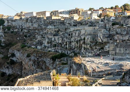Matera, Italy - September 14, 2019: View Of The Sassi Di Matera A Historic District In The City Of M