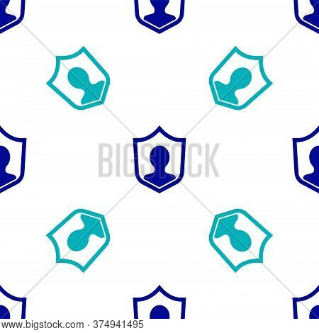 Blue User Protection Icon Isolated Seamless Pattern On White Background. Secure User Login, Password