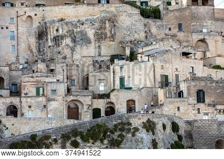 Vmatera, Italy - September 14, 2019: View Of The Sassi Di Matera A Historic District In The City Of