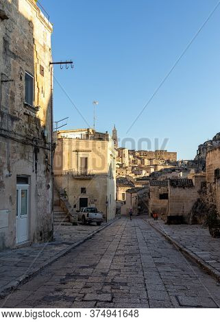 Matera, Italy - September 15, 2019: Cobblestone Street In The Sassi Di Matera A Historic District In