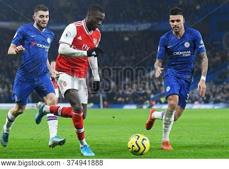 London, England - January 21, 2020: Nicolas Pepe Of Arsenal Pictured During The 2019/20 Premier Leag