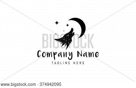 Vector Logo On Which An Abstract Image Of A Wolf Howling At The Moon.