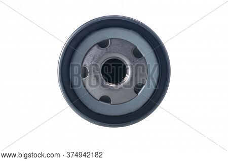 Oil Filter For A Car Motor, Top View, Isolated On White