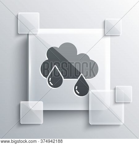 Grey Cloud With Rain Icon Isolated On Grey Background. Rain Cloud Precipitation With Rain Drops. Squ