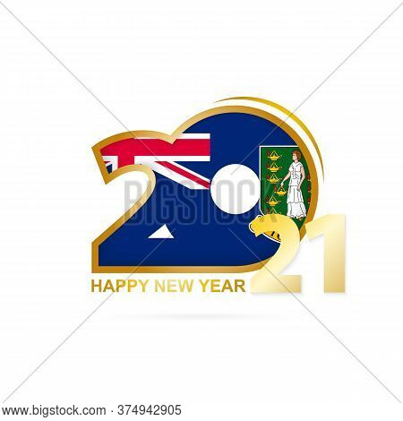 Year 2021 With British Virgin Islands Flag Pattern. Happy New Year Design. Vector Illustration.