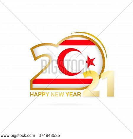 Year 2021 With Northern Cyprus Flag Pattern. Happy New Year Design. Vector Illustration.