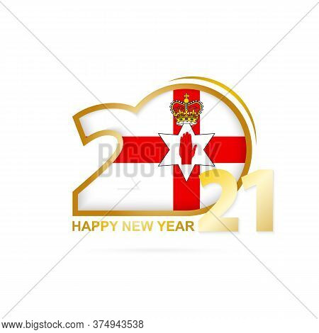 Year 2021 With Northern Ireland Flag Pattern. Happy New Year Design. Vector Illustration.