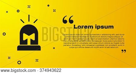 Black Flasher Siren Icon Isolated On Yellow Background. Emergency Flashing Siren. Vector