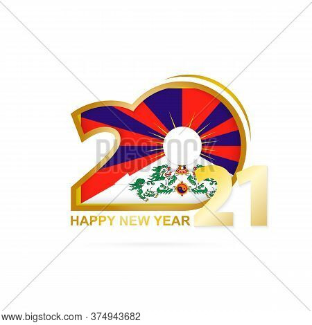 Year 2021 With Tibet Flag Pattern. Happy New Year Design. Vector Illustration.