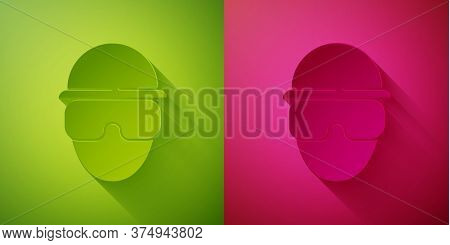 Paper Cut Special Forces Soldier Icon Isolated On Green And Pink Background. Army And Police Symbol