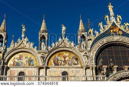 San Marco Or St Mark`s Basilica Closeup, Venice, Italy. It Is Top Landmark In Venice. Beautiful Cath
