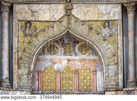St Mark`s Basilica Or San Marco Closeup, Venice, Italy. It Is Top Landmark In Venice. Golden Christi