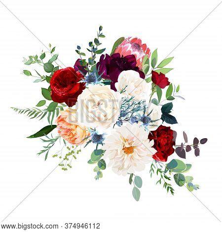 White Ranunculus, Classic Red Rose, Protea, Magenta Peony, Dahlia, Orange Juliet Rose Flowers, Thist
