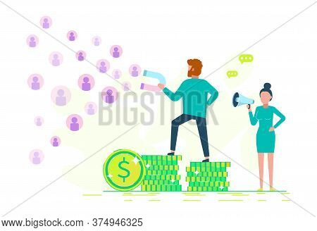business people.The symbol of digital marketing.business people. Vector business concept - attracting customers and clients to business - businessman holds a magnet.business people.