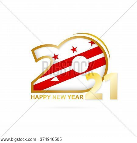 Year 2021 With District Of Columbia Flag Pattern. Happy New Year Design. Vector Illustration.