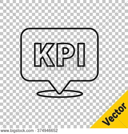 Black Line Kpi - Key Performance Indicator Icon Isolated On Transparent Background. Vector