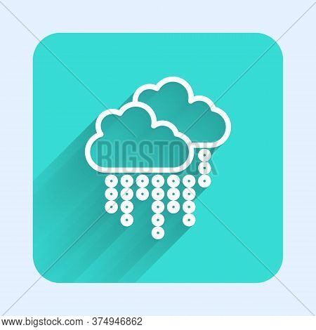 White Line Cloud With Rain Icon Isolated With Long Shadow. Rain Cloud Precipitation With Rain Drops.