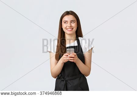 Grocery Store Employees, Small Business And Coffee Shops Concept. Smiling Attractive Waitress In Bla