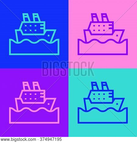 Pop Art Line Cruise Ship In Ocean Icon Isolated On Color Background. Cruising The World. Vector