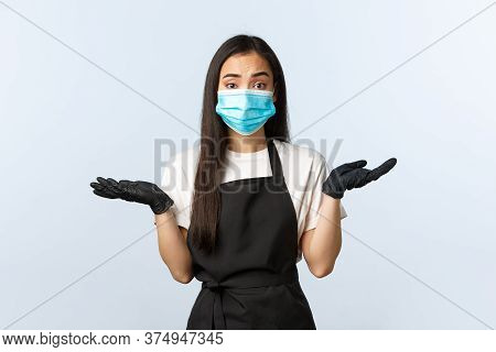 Covid-19 Pandemic, Social Distancing, Small Business And Preventing Virus Concept. Clueless And Puzz