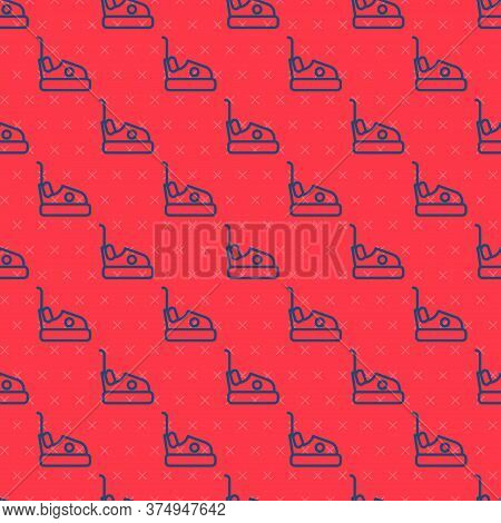 Blue Line Bumper Car Icon Isolated Seamless Pattern On Red Background. Amusement Park. Childrens Ent